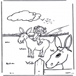 Animals coloring pages - Girl with donkey