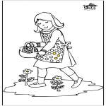 Kids coloring pages - Girl with flowers