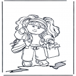 Kids coloring pages - Girl with mobile
