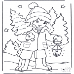 Winter coloring pages - Girl with tree