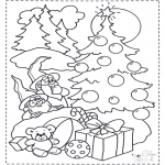 Christmas coloring pages - Gnooms and x-mastree