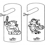 Theme coloring pages - Halloween doorhanger 1