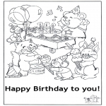 Theme coloring pages - Happy Birthday 6