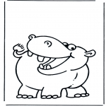 Animals coloring pages - Hippo 2