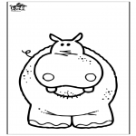 Animals coloring pages - Hippo 3