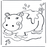 animals coloring pages - Hippo in the water