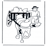 animals coloring pages - Horse and wagon