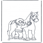 Animals coloring pages - Horse brushing