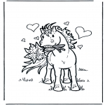 Animals coloring pages - Horse in love