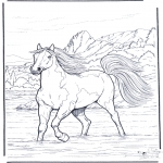 Animals coloring pages - Horse in the river