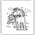 animals coloring pages - Horse with flowers