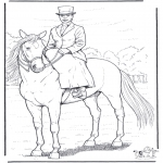 Animals coloring pages - Horse with lady