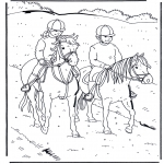 Animals coloring pages - Horseriding 1