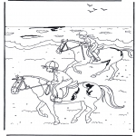 animals coloring pages - Horseriding 2