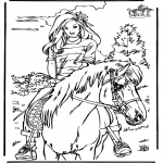 Animals coloring pages - Horseriding 4
