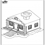 Winter coloring pages - House in the snow 1