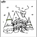 Winter coloring pages - House in the snow 2