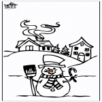 Winter coloring pages - House in the snow 4