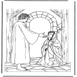Bible coloring pages - Jesus and the ill woman