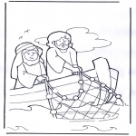 Bible coloring pages - Jesus on boat