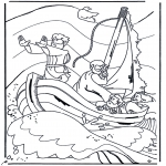Bible coloring pages - Jesus on the lake