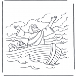 Bible coloring pages - Jesus on the water 1