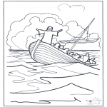 Bible coloring pages - Jesus on the water 2