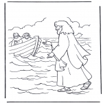 Bible coloring pages - Jesus walking on water