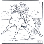 animals coloring pages - Jockey on horse