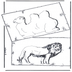 Animals coloring pages - Kamel and lion