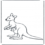Animals coloring pages - Kangaroo with baby