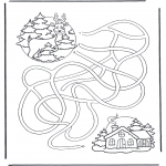 Winter coloring pages - Labyrinth deer