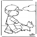 Animals coloring pages - Letting the dog out