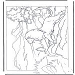 Animals coloring pages - Lion on a rock