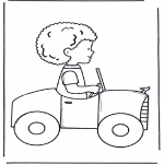 Kids coloring pages - Little boy in car