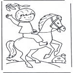 Kids coloring pages - Little boy on horse
