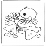 Animals coloring pages - Little chicks 1