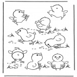 Animals coloring pages - Little chicks 2
