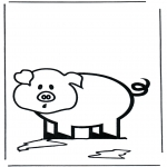 Animals coloring pages - Little pig