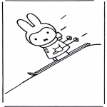 Kids coloring pages - Little rabbit on ski's