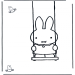 Kids coloring pages - Little rabbit on swing