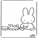 Kids coloring pages - Little rabbit with train