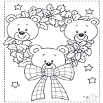 Christmas coloring pages - Little x-mas bears