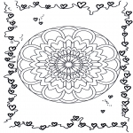 Mandala Coloring Pages - Mandala hearts 3