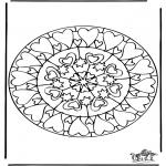 Mandala Coloring Pages - Mandala hearts 6