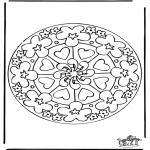 Mandala Coloring Pages - Mandala hearts 7