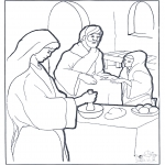 Bible coloring pages - Mary,Martha and Jesus