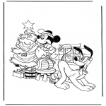 Christmas coloring pages - Mickey with christmastree