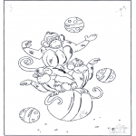 Animals coloring pages - Monkey on ball