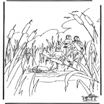Bible coloring pages - Moses in basket